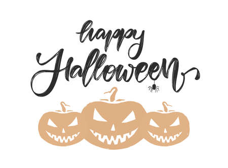 Vector Illustration: Handwritten brush type lettering of Happy Halloween. Greeting card with pumpkins