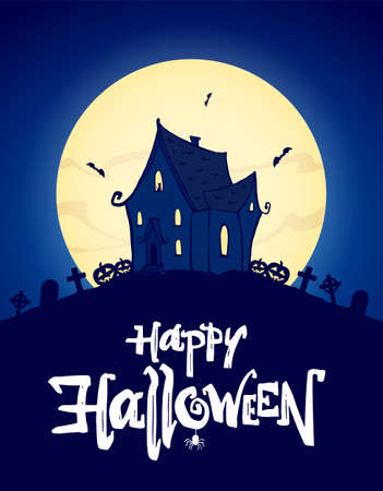Vector illustration: Greeting poster with hand drawn haunted house and lettering of Happy Halloween. Ilustração