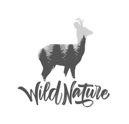 Vector illustratie: reeën met dennenbos en hand belettering van wilde natuur. Dubbele expositie.