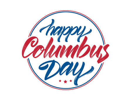Calligraphic brush Lettering composition of Happy Columbus Day on white background. Typography design. Foto de archivo - 108876882