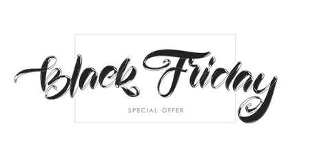 Vector handwritten calligraphic lettering of Black Friday Pecial Offer on white background.