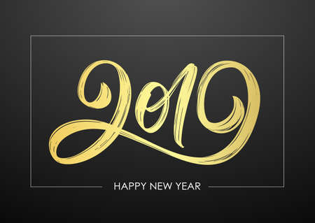 Vector illustration: Handwritten golden textured brush lettering of 2019 on black background. Happy New Year. Chines calligraphy