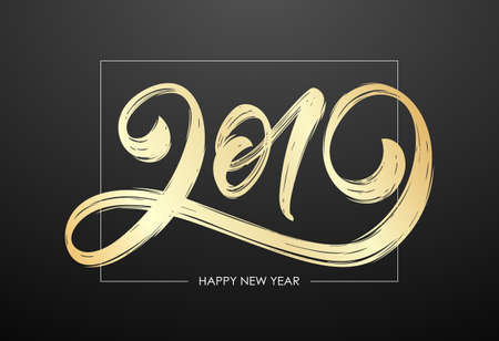 Vector illustration: Handwritten golden textured brush lettering of 2019. Happy New Year. Chines calligraphy