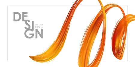 Banner template with 3d orange abstract brush stroke acrylic paint shape. Liquid wave. Trendy design 写真素材