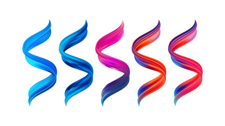 Vector illustration: Set of 3d twisted colorful flow liquid shape. Acrylic paint sroke. Modern design.