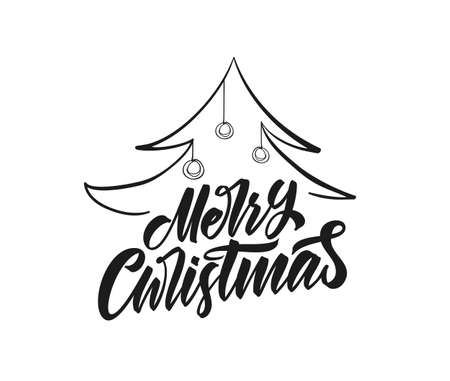 Vector illustration: Greeting card template with Handwritten type lettering of Merry Christmas and Christmas tree Illustration
