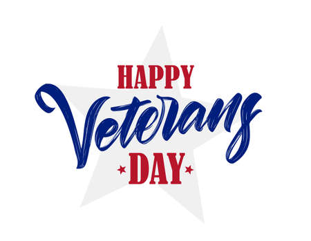 Vector illustration: Hand drawn Calligraphic type lettering composition of Happy Veterans Day.