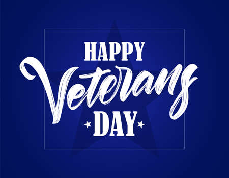 Vector illustration: Hand drawn calligraphic lettering of Happy Veterans Day on blue background Illustration