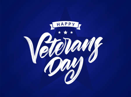 Vector illustration: Handwritten calligraphic lettering composition of Happy Veterans Day on blue background