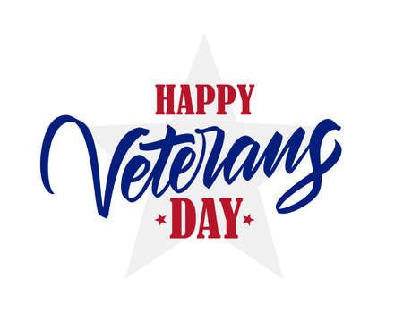 Vector illustration: Calligraphic type lettering composition of Happy Veterans Day Illustration