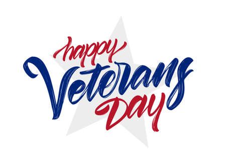 Vector illustration: Handwritten calligraphic brush lettering of Happy Veterans Day