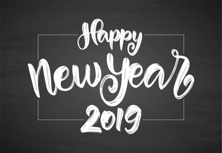 Handwritten textured brush lettering of Happy New Year 2019 on chalkboard background