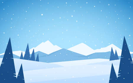 Vector illustration: Winter snowy Mountains landscape with pines, hills and peaks Фото со стока - 112470283