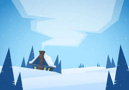 Vector illustration: Cartoon Winter christmas landscape with house and smoke from chimney Stock Photo