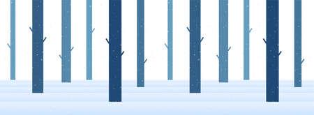 Vector illustration: Winter snowy Flat cartoon forest. Christmas seamless background