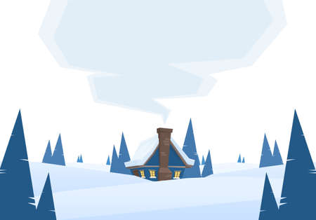 Vector illustration: Winter snowy cartoon landscape with house and smoke from chimney on white background.