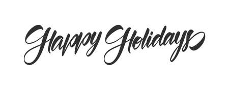 Vector illustration: Handwritten calligraphic brush type lettering of Happy Holidays isolated on white background