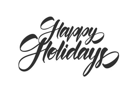 Vector illustration: Handwritten calligraphic type lettering composition of Happy Holidays on white background.
