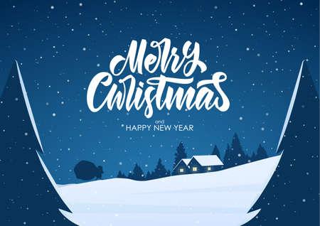 Biglietto di auguri con scena di cartone animato piatto. buon Natale