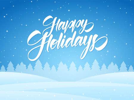 Vector illustration: Handwritten elegant brush type lettering of Happy Holidays on blue winter Christmas background. Ilustração