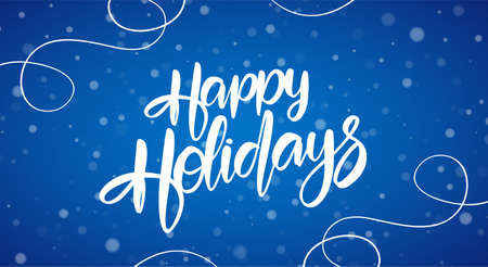 Vector illustration: Hand drawn brush lettering composition of Happy Holidays on blue snowflakes background