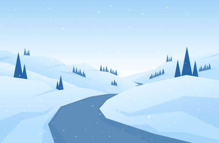 Vector illustration: Winter snowy flat cartoon mountains landscape with road, hills and pines. Christmas background.