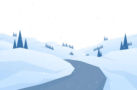Vector illustration: Winter snowy flat landscape with road, hills and pines. Christmas background.
