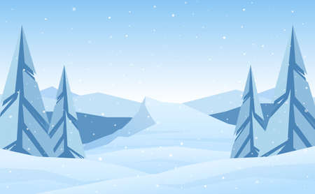 Vector illustration: Winter Mountains landscape with pines, plateau and hills.