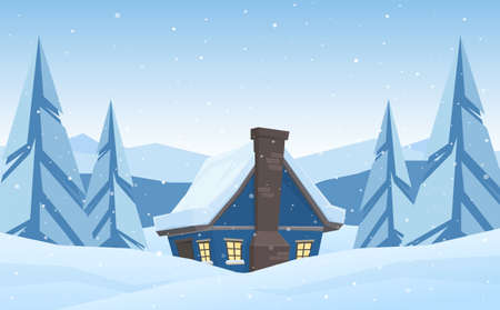 Vector illustration: Cartoon cute house on Winter christmas mountains landscape background. Иллюстрация