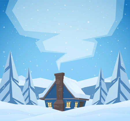 Vector illustration: Cartoon cute house with smoke from chimney on Winter christmas landscape background.