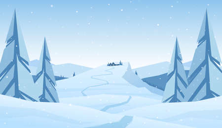 Vector illustration: Winter snowy mountains christmas landscape with path to cartoon house