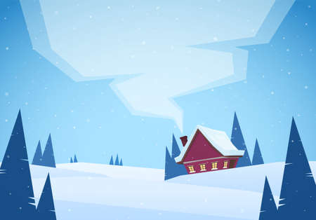 Vector illustration: Cartoon Winter christmas snowy landscape with red house and smoke from chimney.