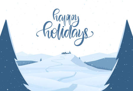 Winter mountains christmas landscape with path to cartoon house and handwritten lettering of Happy Holidays Stockfoto