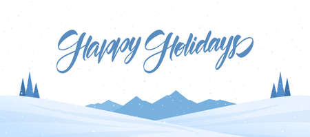 Mountains winter snowy landscape with handwritten lettering of Happy Holidays. Christmas banner Banco de Imagens