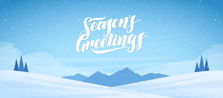 Mountains winter snowy landscape with handwritten lettering of Seasons Greetings. Christmas banner Imagens