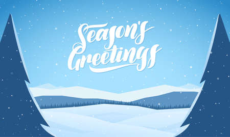 Blue mountains winter snowy landscape with hand lettering of Seasons Greetings and pines on foreground Фото со стока - 114249851