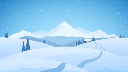 Winter snowy mountains flat landscape with path to cartoon house. Christmas background
