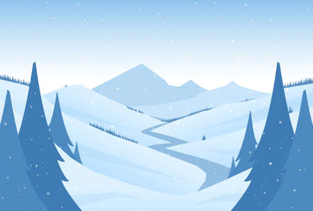 Vector snowy winter mountains landscape with hills, river or road and pines on foreground Ilustracja