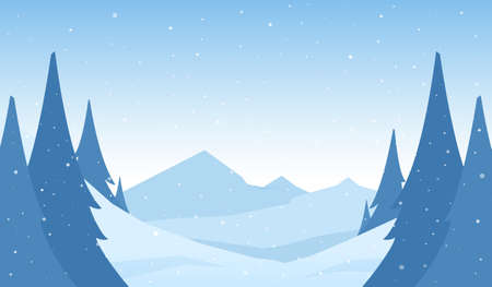 Vector snowy winter mountains cartoon landscape with hills and pines on foreground