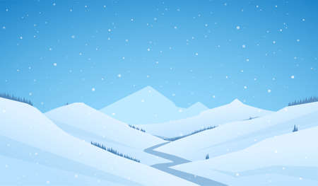 Vector snowy winter mountains landscape with hills and river or road Фото со стока - 127325462