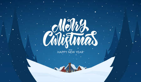 Vector greeting card. Snowy landscape background with hand lettering of Merry Christmas, night village and pines Иллюстрация