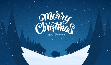 Vector greeting card. Snowy landscape background with hand lettering of Merry Christmas, Santa Claus and night village