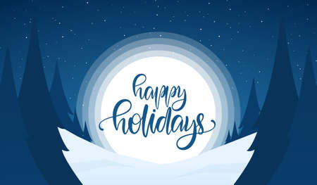 Vector greeting card. Snowy Christmas background with hand lettering of Happy Holidays, night sky and pines Иллюстрация