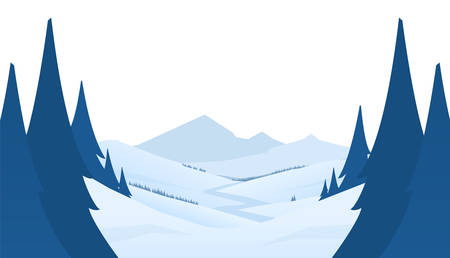 Vector illustration: Winter snowy mountains scene with hills and pines in foreground. Flat cartoon landscape