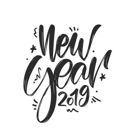 Vector illustration. Hand drawn textured brush lettering of New Year 2019 on white background. Иллюстрация