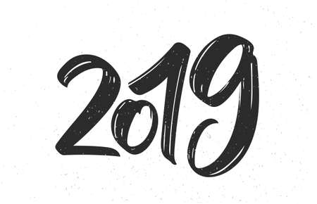 Hand drawn brush textured type lettering of 2019. Happy New Year. Chines calligraphy
