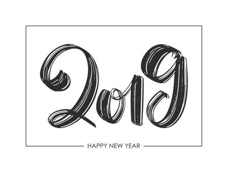 Vector illustration: Hand drawn textured brush type lettering of 2019. Happy New Year. Chines calligraphy