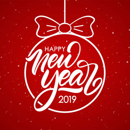 Vector illustration. Hand lettering composition of Happy New Year 2019 in Christmas Ball on red snowflakes background.