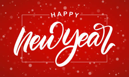 Vector illustration. Handwritten calligraphic brush lettering of Happy New Year on red snowflakes background.
