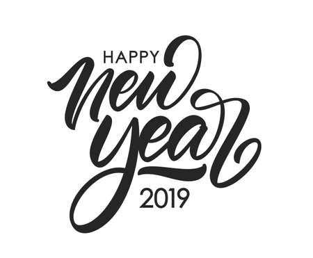 Vektor-Illustration. Handgeschriebene kalligraphische Bürstenbeschriftungszusammensetzung des guten Rutsch ins Neue Jahr 2019 auf weißem Hintergrund.